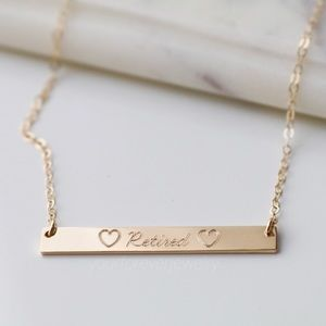 Jewelry - Solid 14K Gold Filled Engraved Name Bar Necklace